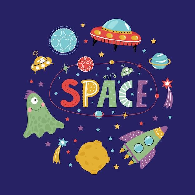 Obiekty kosmiczne w kolekcji w stylu kreskówki Premium Wektorów