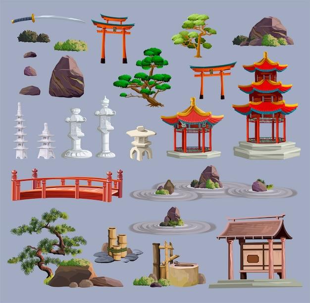 Obiekty Kultury Starożytnej Japonii Duży Zestaw Z Pagodą, świątynią, Ikebaną, Bonsai, Drzewami, Kamieniem, Ogrodem, Japońską Latarnią, Konewką Na Białym Tle. Japonia Zestaw Kolekcji Premium Wektorów