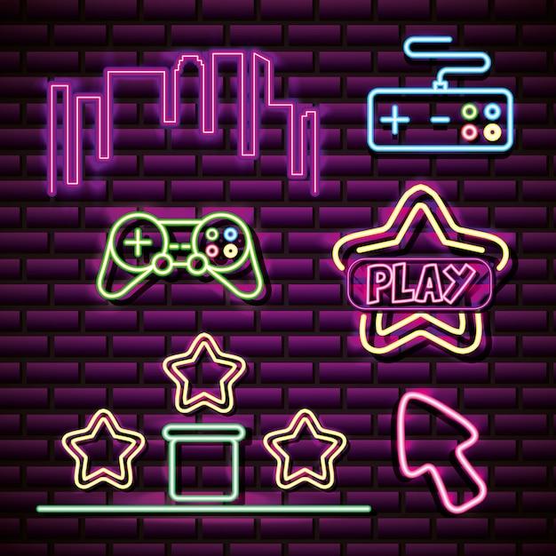 Obiekty takie jak gwiazda, kontroluj panoramę w stylu neonowym, powiązane gry wideo Darmowych Wektorów
