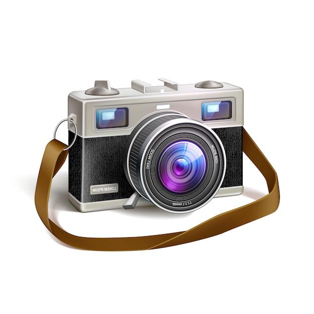Obiektyw Makro Realistyczny Aparat Fotograficzny W Stylu Vintage Film Premium Wektorów