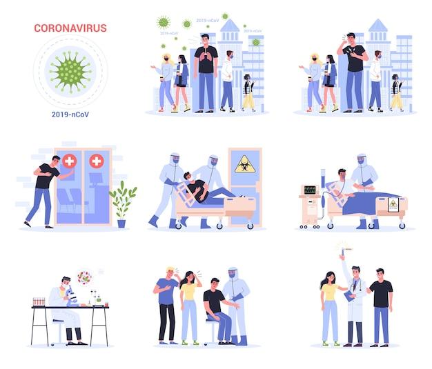 Objawy I Rozprzestrzenianie Się I Leczenie. Alert Koronowirusa. Badania I Rozwój Szczepionki Zapobiegawczej. Zestaw Premium Wektorów