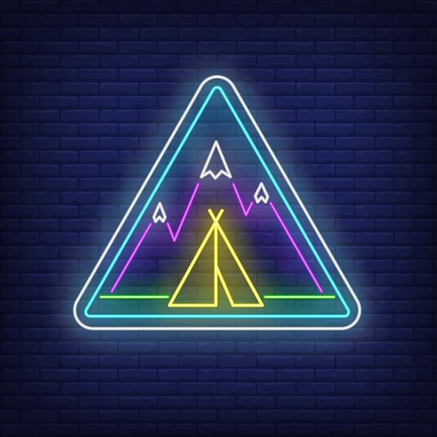 Obóz w górach neon znak Darmowych Wektorów