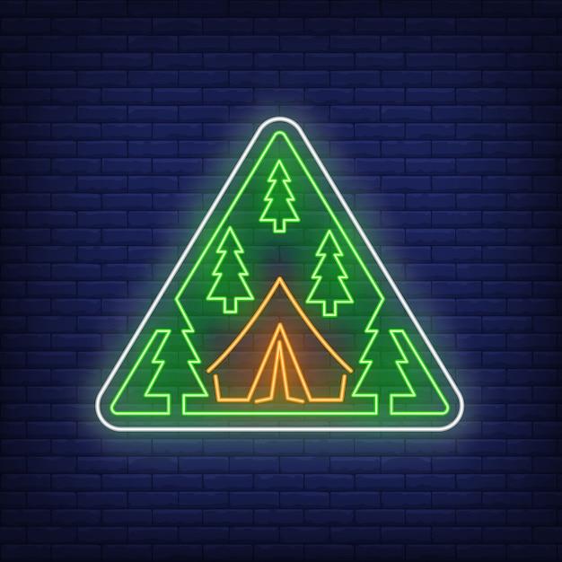 Obóz w lesie neon znak Darmowych Wektorów