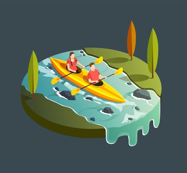 Obozuje Wycieczkujący Isometric Ikona Skład Z Round Widokiem Halna Strumień Rzeka I Paddleboat Z Ludźmi Ilustracyjnymi Darmowych Wektorów