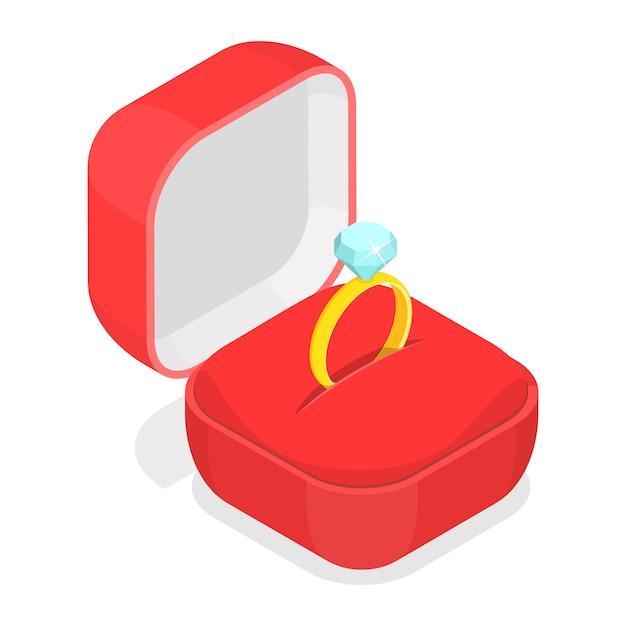 Obrączka W Pudełku Izometrycznym. Premium Wektorów