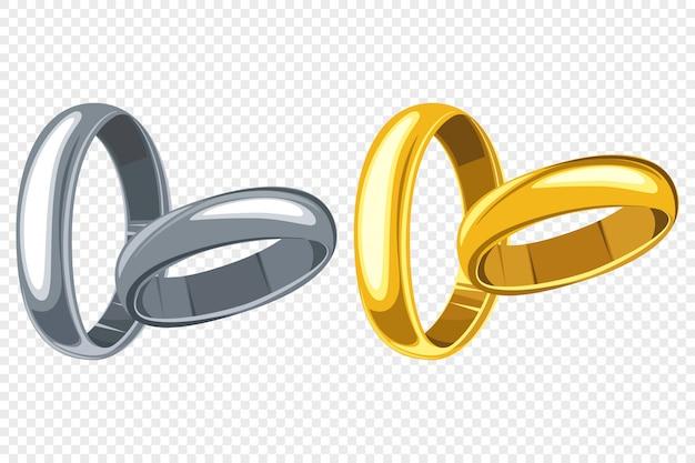 Obrączki ślubne kreskówka zestaw na białym tle przezroczysty Premium Wektorów