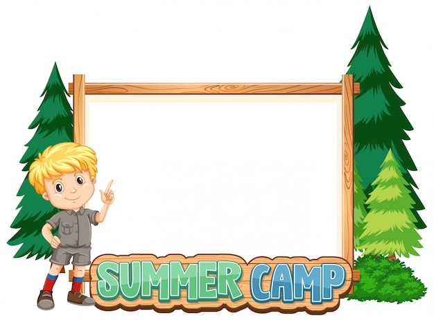 Obramowanie Szablonu Projektu Z Chłopcem Na Obóz Letni Darmowych Wektorów