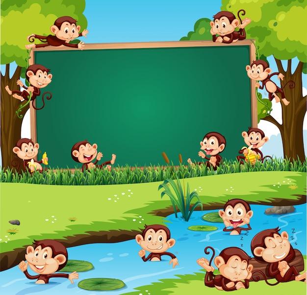 Obramowanie Szablonu Projektu Z Cute Małpy W Parku Darmowych Wektorów