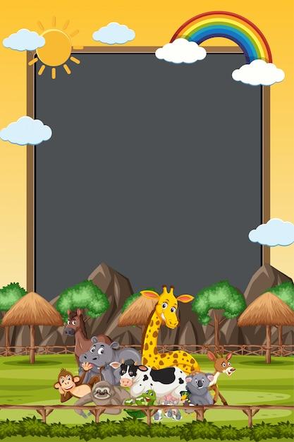Obramowanie Szablonu Z Wieloma Dzikimi Zwierzętami Premium Wektorów