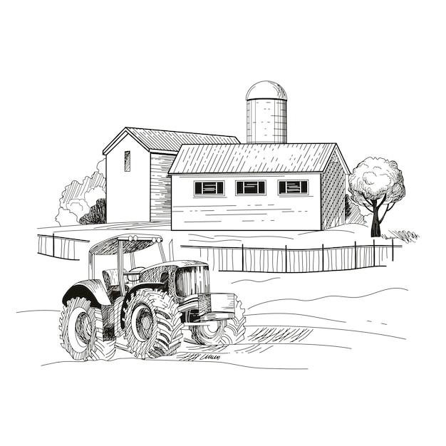 Obraz Gospodarstwa, Domów I Ciągnika. Ręcznie Rysowane Szkic Ilustracji Wektorowych. Premium Wektorów