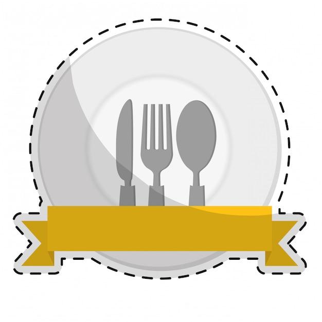 Obraz ikona sztućce jadalnia Premium Wektorów