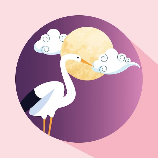 Obraz Ikony ładny Bocian I Księżyc Premium Wektorów