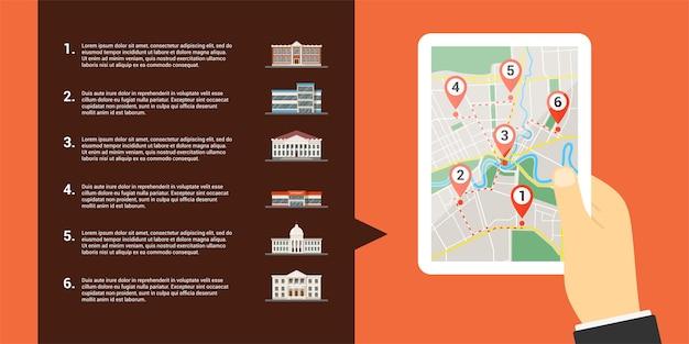 Obraz Ludzkiej Dłoni Trzymającej Cyfrowy Tablet Z Mapą I Licznymi Wskaźnikami Gps To Ikony Ekranu I Budynków, Mapy Mobilne I Koncepcja Pozycjonowania Gps Premium Wektorów
