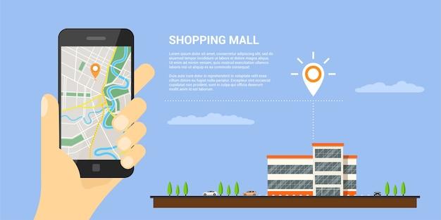 Obraz Ludzkiej Ręki Trzymającej Telefon Komórkowy Z Mapą I Wskaźnikiem Gps To Ekran, Mapy Mobilne I Koncepcja Pozycjonowania Gps Premium Wektorów