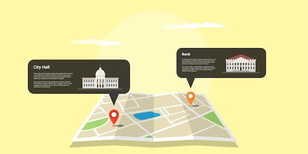Obraz Mapy Z Dwoma Wskaźnikami Gps I Ikonami Budynków Premium Wektorów