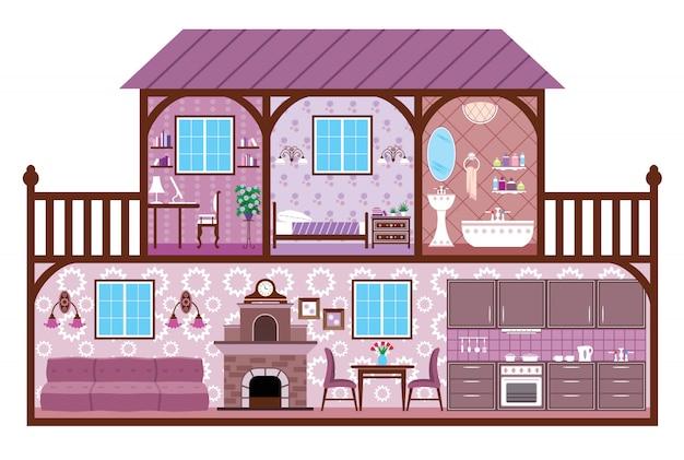 Obraz Pomieszczeń Domu Z Elementami Projektu. Premium Wektorów