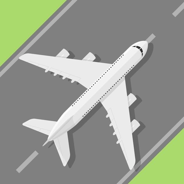 Obraz Standig Cywilnego Samolotu Na Lądowisku, Styl Ilustracji Premium Wektorów