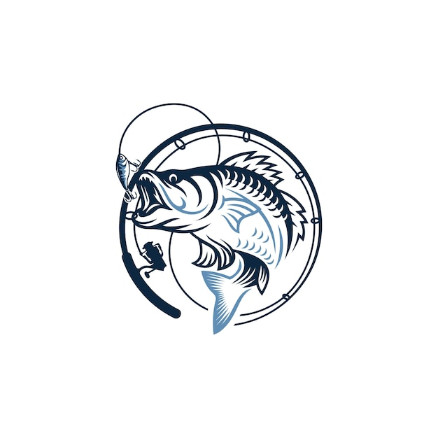 Obraz vintage logo połowów Premium Wektorów