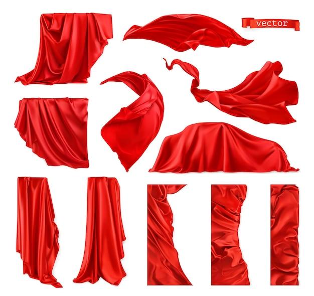 Obraz Z Czerwoną Kurtyną. Realistyczny Wektor Zestaw Draperii Premium Wektorów