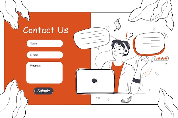 Obsługa Klienta, Wsparcie Online, Ilustracja Koncepcja Szablonu Strony Internetowej Premium Wektorów