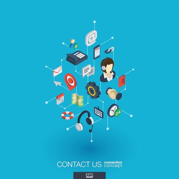Obsługa Zintegrowanych Ikon Internetowych. Koncepcja Interakcji Izometrycznej Sieci Cyfrowej. Połączony Graficzny System Kropkowo-liniowy. Tło Dla Call Center, Serwisu Pomocy, Skontaktuj Się Z Nami. Infograf Premium Wektorów