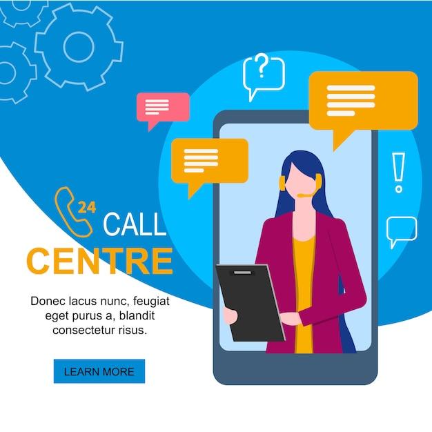 Obsługi klienta kobiety operator z słuchawki mikrofonem na telefonie komórkowym Premium Wektorów