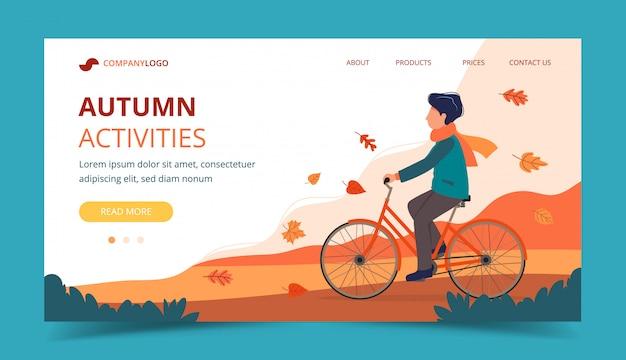 Obsługuje jazda rower w parku w jesieni. szablon strony docelowej. Premium Wektorów
