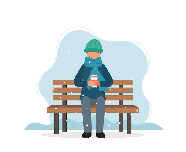 Obsługuje Obsiadanie Na ławce W Zimie Z Kawą. Premium Wektorów