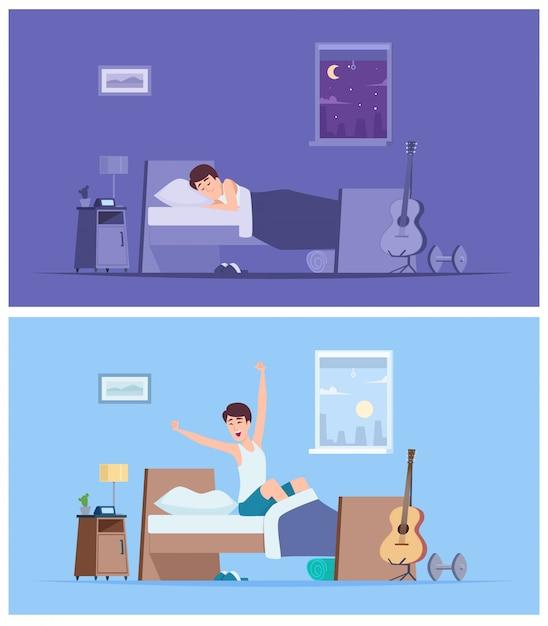 Obudź Się Stary. Radosny Szczęśliwy Poranek śpiący Mężczyzna Rozciągający Się W Złym Siedzeniu Na Materacu Spokojnych Postaci Premium Wektorów