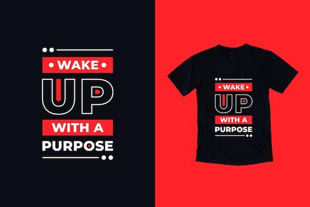 Obudź Się Z Projektem Koszulki Z Cytatami Premium Wektorów