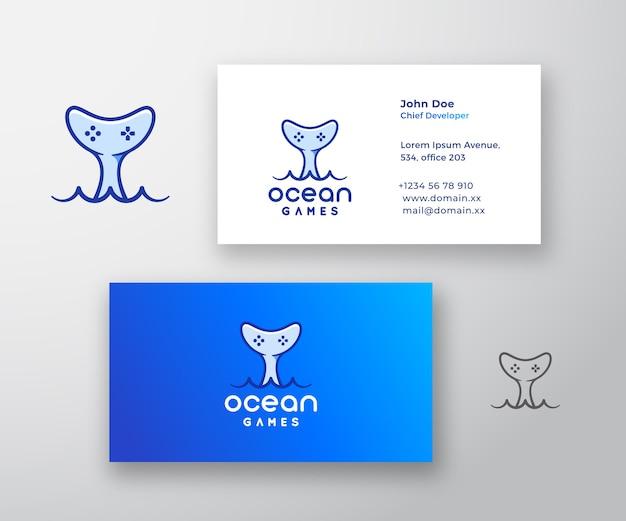 Ocean Games Abstract Logo I Wizytówka Darmowych Wektorów
