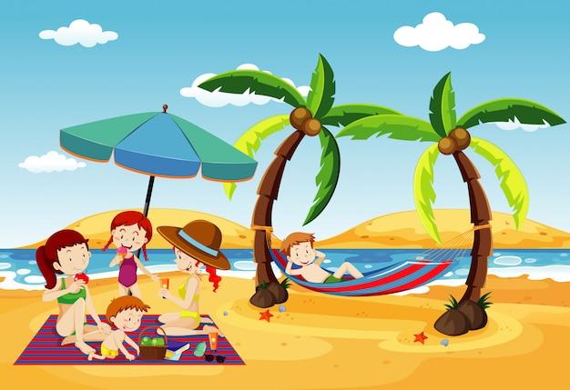 Ocean Scena Z Ludźmi, Zabawy Na Plaży Darmowych Wektorów