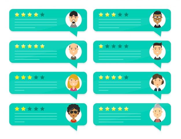 Oceń osoby oceniające przemówienia w formie bąbelków Premium Wektorów
