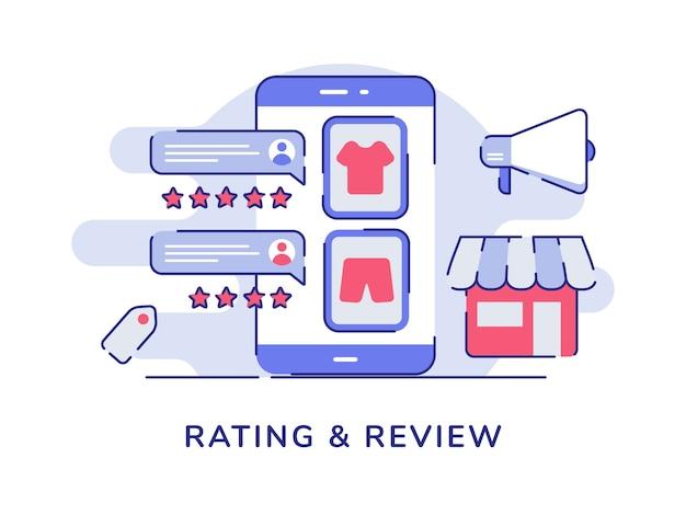 Ocena I Przegląd Koncepcji E-commerce W Sklepie Internetowym W Stylu Z Płaskim Konturem Premium Wektorów