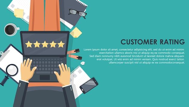 Ocena Klienta Na Kolanach Premium Wektorów