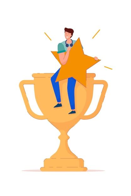 Ocena W Górę. Szczęśliwy Zwycięzca Młody Człowiek Posiada Gwiazdkę Oceny I Siedzieć Na Złoty Puchar Trofeum. Radość Zwycięstwa Ikona Męskiej Postaci Na Białym Tle. Ocena W Górę, Dobry Wynik, Ilustracja Opinii Premium Wektorów