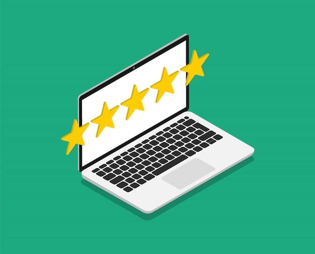 Ocena W Skali Gwiazdkowej. Sprzężenie Zwrotne. Recenzja Klienta Na Laptopie. Premium Wektorów