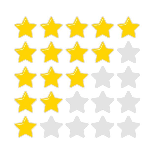 Ocena Złotej Zaokrąglonej Gwiazdy Premium Wektorów