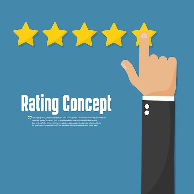Ocena Złotych Gwiazd. Koncepcja Przeglądu Klienta Premium Wektorów