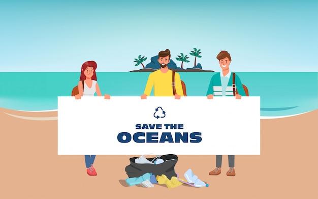 Ochotnicy Ratują Oceany I Oczyszczają śmieci Na Plaży. Premium Wektorów