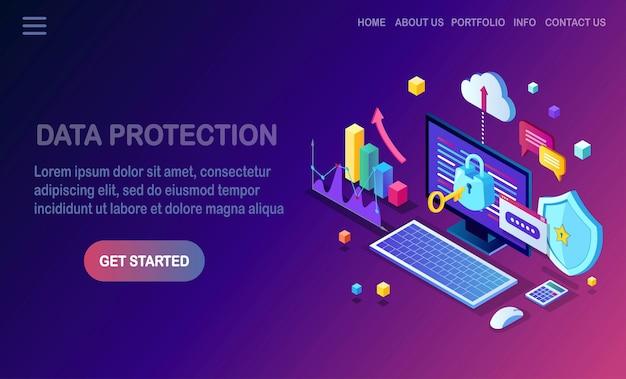 Ochrona Danych. Bezpieczeństwo W Internecie, Dostęp Do Prywatności Za Pomocą Hasła. Izometryczny Komputer Pc Z Kluczem, Zamkiem, Tarczą. Premium Wektorów