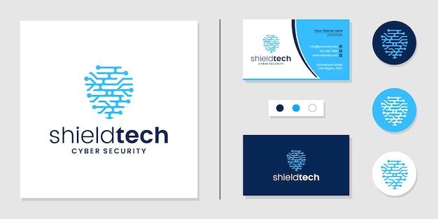 Ochrona Logo Technologii Tarczy I Szablon Projektu Wizytówki Premium Wektorów