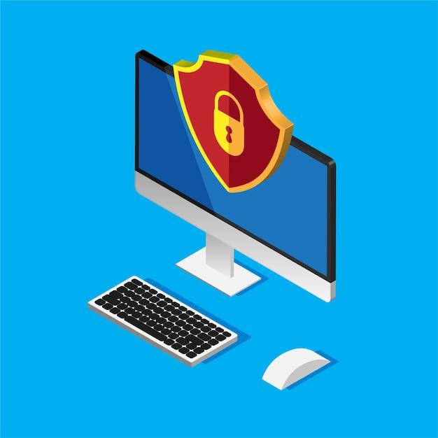 Ochrona Plików. Bezpieczeństwo Danych I Prywatność. Bezpieczne Informacje  Poufne. Monitor Komputera I Czerwona Tarcza | Premium Wektor