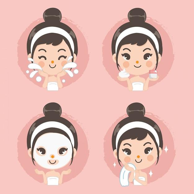 Oczyścić twarz i maskę pianką cute girl. Premium Wektorów