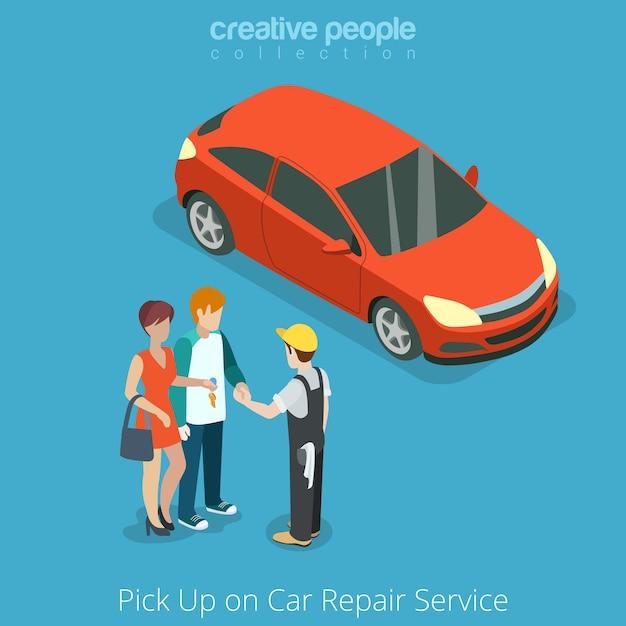 Odbiór Samochodu Z Koncepcji Usługi Naprawy Pojazdu Darmowych Wektorów