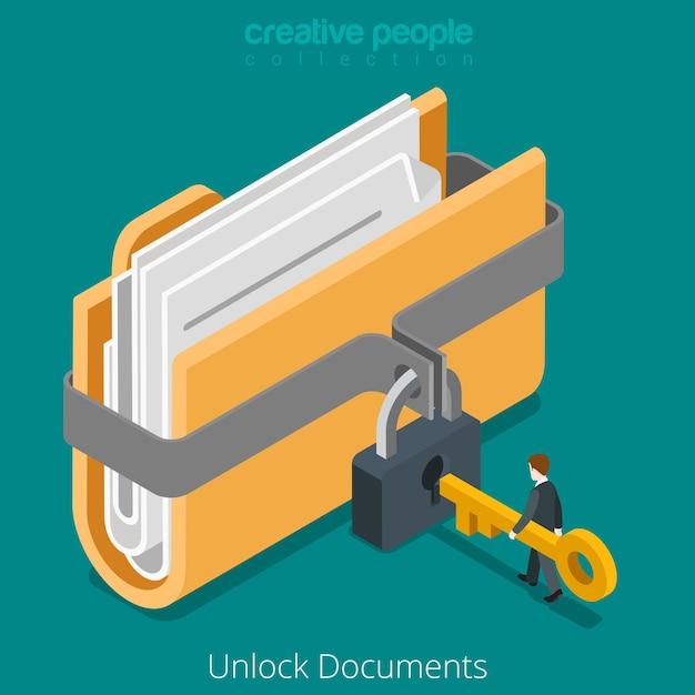 Odblokuj Dokument Bezpiecznego Pliku Danych Folderu Ikoną Klucza Blokady Darmowych Wektorów