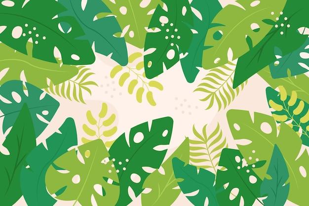 Odcienie Tła Egzotycznych Zielonych Liści Darmowych Wektorów
