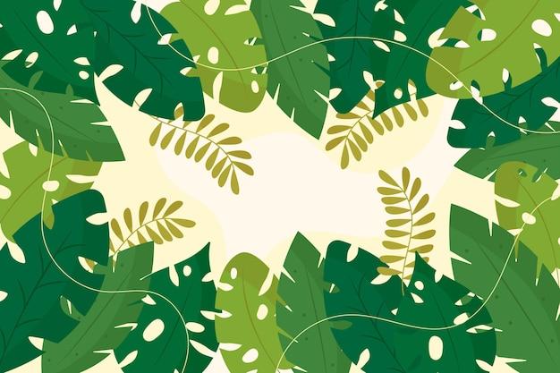 Odcienie Zieleni Tropikalnych Liści Kopii Przestrzeń Darmowych Wektorów