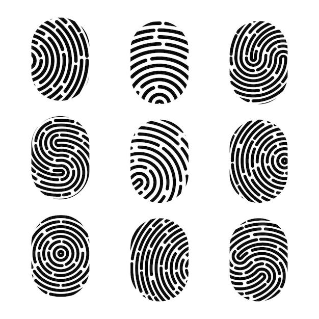 Odcisk palca. znak zbrodni bezpieczeństwa. Premium Wektorów