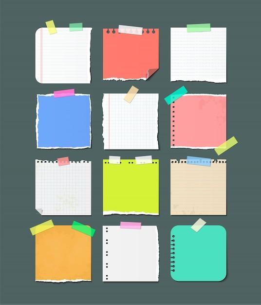 Oderwane Kartki Papieru Banery Na Notatki. Premium Wektorów